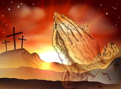 Praying Hands Easter Concept - stock illustration