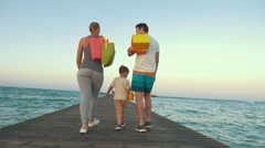 Happy Family Walking after the Shopping Stock Footage