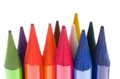 Collection of colorful pens over white background Stock Photos