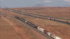 AERIAL United States-Freight Train Out Of Winslow Stock Footage