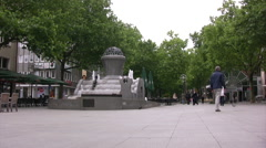 Pedestrian plaza with fountain in central Dortmund Stock Footage