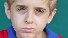 56 White Children Portrait Sad Young Child Face Expression - stock footage