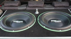 Subwoofers are installed in the trunk. - stock footage