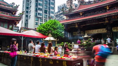 Time Lapse - People Praying in the Long-Shan Temple, Taipei, Taiwan Stock Footage