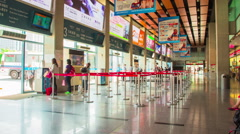 Time Lapse - Passengers Walking in Bus Station Interior Stock Footage