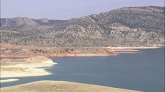 AERIAL United States-North End Of Seminoe Reservoir Stock Footage