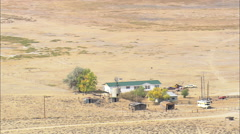 AERIAL United States-Small Ranches On The Oregon Trail By Sweetwater River - stock footage