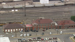 AERIAL United States-Green River Train Station Stock Footage
