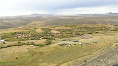 AERIAL United States-Burnt Ranch And Relay Station For Stage Coaches And Pony Stock Footage