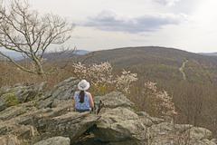 Enjoying the Early Spring Mountain View - stock photo