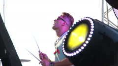 Soundlights and drummer concert close up Stock Footage