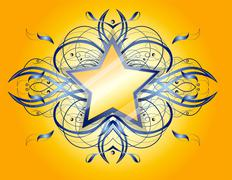 Abstract shape with star. - stock illustration