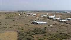 AERIAL United States-Old Aircraft At South Big Horn County Airfiled Stock Footage