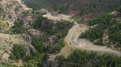 AERIAL United States-Route 14 Through Shell Canyon - stock footage
