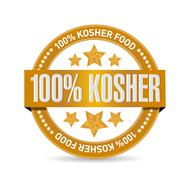 100% kosher food seal illustration design - stock photo