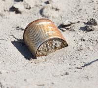 Rusty sand bank. trash Stock Photos