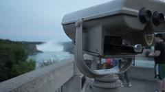 Coin Operated Binoculars At Niagara Falls Stock Footage