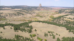 AERIAL United States-Approach To The Devil's Tower Stock Footage