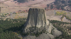Stock Video Footage of AERIAL United States-The Devil's Tower National Monument