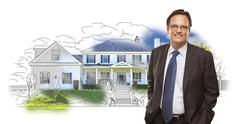 Man Wearing Neck Tie Over House Drawing and Photo Stock Photos