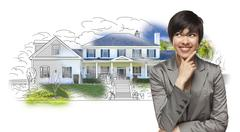 Mixed Race Female Gazing Over House Drawing and Photo Combination on White. Stock Photos