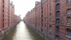 Stock Video Footage of Speicherstadt along a canal in Hamburg, Germany