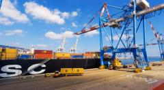 Time lapse - International Container ship unloading containers Stock Footage