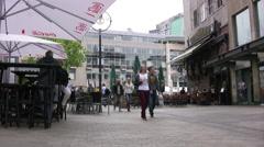 Ostenhellweg street in Dortmund view towards plaza Stock Footage