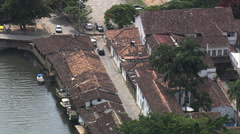 AERIAL Brazil-Parati Streets And Buildings Stock Footage