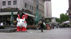 Plaza in central Dortmund with city Mascot Stock Footage