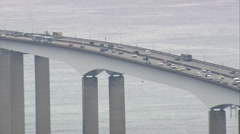 AERIAL Brazil-Niteroi Bridge Stock Footage