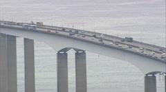 AERIAL Brazil-Niteroi Bridge Stock Footage