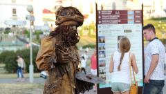 Living statue in the center of the city posing Stock Footage