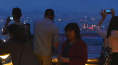 Stock Video Footage of Photo shoot from the Peak in HK 4K