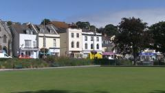Dawlish Town Centre Shops and Bowling Green in South Devon - stock footage