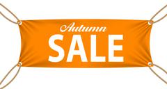Textile banners with Autumn Sale Text Suspended by Ropes - stock illustration