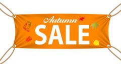 Textile banner with Autumn Sale Text Suspended by Ropes - stock illustration