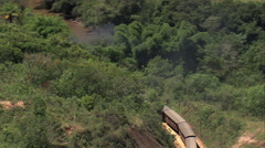 AERIAL Brazil-Steam Train Outside S_o Jo_o Del Rei Stock Footage