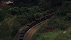 AERIAL Brazil-Long Coal Train Near Congonhas Stock Footage