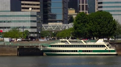 Ship The Portland Spirit Docked Along Waterfront in Portland, Oregon Stock Footage