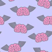 Winged brain seamless pattern. Brain with wings Symbol idea. Brain with Angel Piirros