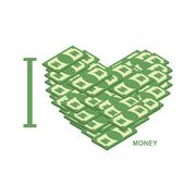 Stock Illustration of I love money. Symbol of heart of dollars. Illustration of cash to attract pro