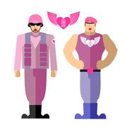 Army soldiers  love. Military in a pink dress with makeup. Vector illustratio Stock Illustration