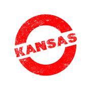 Rubber Ink Stamp Kansas - stock illustration
