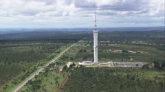AERIAL Brazil-Digital Television Tower Stock Footage