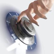 Close up of a safe lock and woman hand conceptual security and business - stock photo
