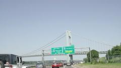 Driving on highway toward Verrazano Bridge sign in Brooklyn in 4K, NYC Stock Footage