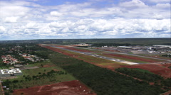 AERIAL Brazil-Landing At Helicopter Base In Brasilia Airport Stock Footage