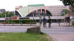 Main road in Dortmund with view of Opera House - stock footage