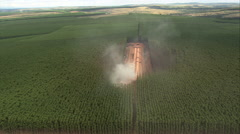 AERIAL Brazil-Charcoal Burning In Plantation, Minas Gerais State - stock footage